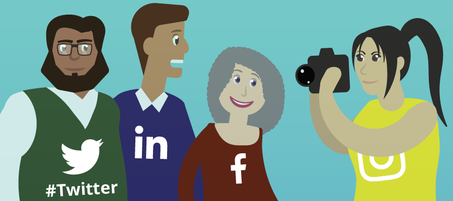 social media for charities depicted as humans